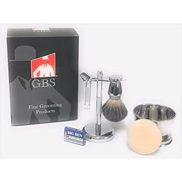 GBS Slant Safety Razor Shaving Set - Chrome - Merkur 37 The Stubble Remover (37001 37C) Slanted Razor, Badger Brush, Razor & Brush Stand, Bowl Soap + 10 Blades For Ultimate Wet Shaving Experience