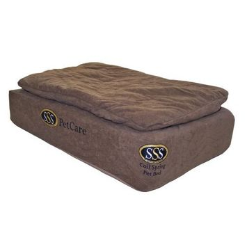 Pet Goods Mfg   Imports Pet Goods 20-By-20-Inch SSS PetCare Coil Spring Mattress Bed with Layered Foam, Chocolate