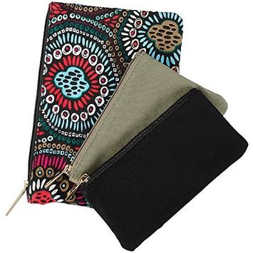 Carson Canvas Pouch Geometric Olive Black Pack of 3 Multicolored