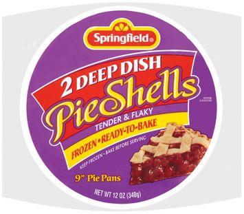 Springfield Deep Dish Frozen Ready to Bake 9 Inch Pie Shells 2 Ct Bag