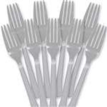 Amscan Premium Heavy Weight Plastic Forks, 9.8
