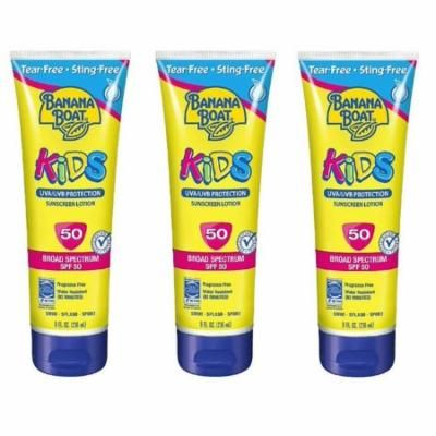 Banana Boat Kids UVA/UVB Protection Sunscreen Lotion, Broad Spectrum, SPF 50, 8 Oz (Pack of 3) + Facial Hair Remover Spring