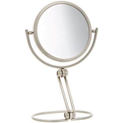 MC449N 5.5-Inch Folding Travel Mirror with 10x Magnification and Velveteen Storage Pouch, Nickel Finish, Ship from America