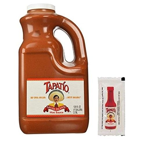 Tapatio Salsa Picante Hot Sauce, 128 oz & Tapatio Single Serve Packets 25 Count in a Prime Time Direct Sealed Bag