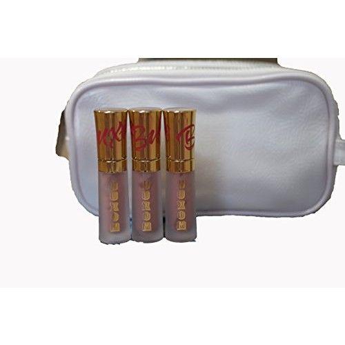 Buxom Mini Lip Cream 'White Russian' 2ml/0.07oz - Set of 3 & White Make-Up Bag