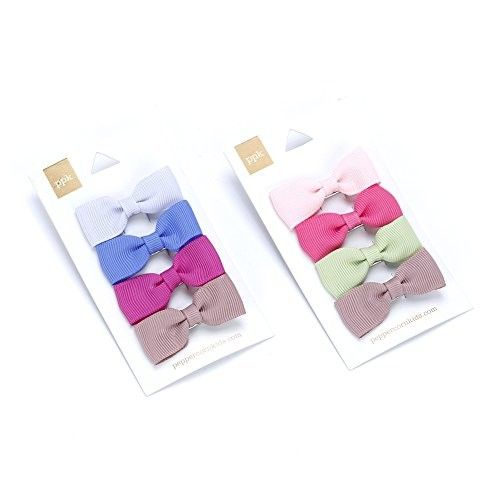 Girls Little Bow Hair Clip 4-pc Set - Pink & Purple - Multi Mix