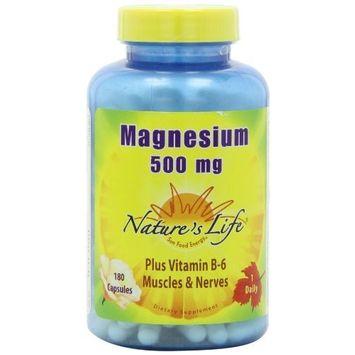 Nature's Life Magnesium Capsules, 500 Mg, 180 Count