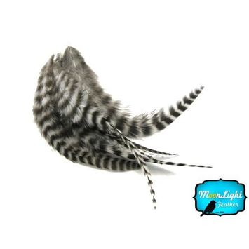 Hair Feathers ; 1 Dozen - SHORT NATURAL Grizzly Rooster Hair Extension Feathers