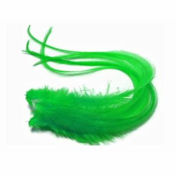 6 Pieces - Solid Green Thick Long Rooster Hair Extension Feathers