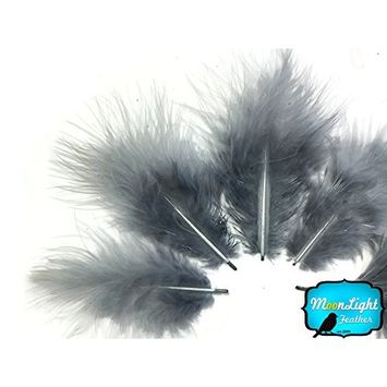 Turkey Feathers, 1/4 Pound Turkey Marabou Short Down Fluffy Loose Feathers Silver Gray