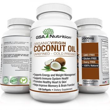 Organic Virgin Coconut Oil 120 Caps 2000mg Source Of MCFAs | Unrefined Cold Pressed Oil Supplement | Improve Wellness & Skin Health, Promote Weight Loss, Lower Cholesterol & Curb Appetite