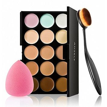 Anself 15 Colors Makeup Cream Facial Camouflage Concealer Make Up Palette with Sponge Puff Oval Makeup Brush