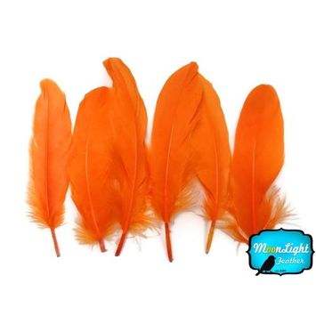 Moonlight Feather   1 Pack - Orange Goose Satinettes Loose Feathers 0.3 Oz. Craft, Party, Jewelry, Costume Supplier