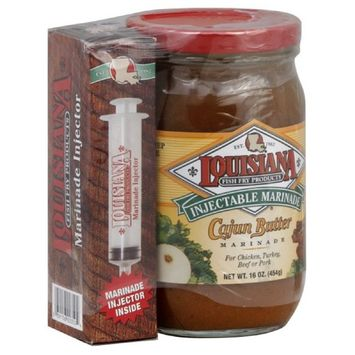 LOUISIANA Fish Fry Cajun Butter Marinade with Injector, 16-Ounce (Pack of 6)