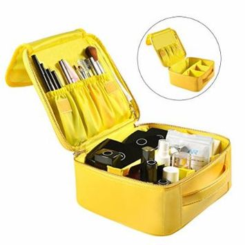 Portable Travel Makeup Bag, Waterproof Makeup Train Case Cosmetic Organizer Kit Artists Storage for Cosmetics, Makeup Brush Set, Toiletry And Travel Accessories(Small,Yellow)
