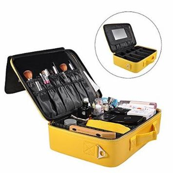 Portable Travel Makeup Bag, Waterproof Makeup Train Case Cosmetic Organizer Kit Artists Storage for Cosmetics, Makeup Brush Set, Toiletry And Travel Accessories(Medium,Yellow)