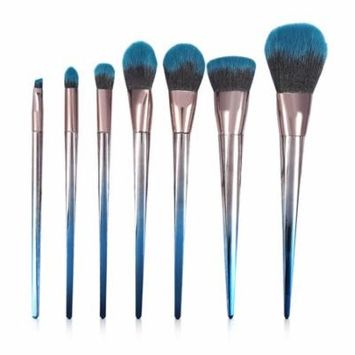 7pcs Diamond Makeup Brush Set Blue Black Gradient Rhombus Foundation Powder Brush Makeup