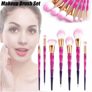 7pcs Pro Makeup Brush Kit Powder Foundation Concealer Eyeshadow Cosmetic Brush Beauty Tool Cosmetic Brushes Kit Pink