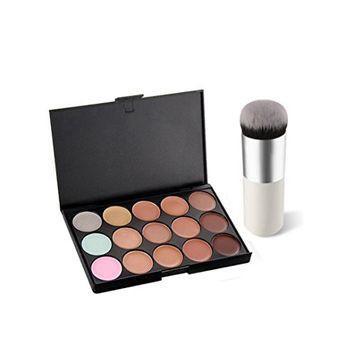 Makeup Cover, Hometom 15 Colors Face Concealer Powder Palette+1 PC Brush (B)