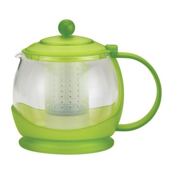 BonJour Prosperity 42-Ounce Glass Teapot, Jasmine Green