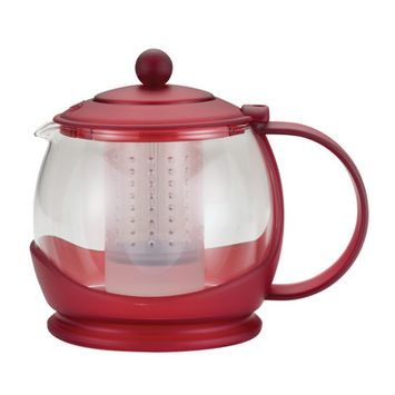BonJour Prosperity 42-Ounce Glass Teapot, Rosehip Red