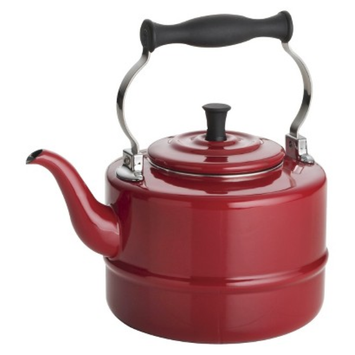 Bonjour BonJour Tea 2 Qt. Porcelain Enameled Teakettle - Red
