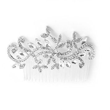 Pretty See Bridal Hair Comb Exquisite Wedding Hair Accessory Elegant Hairpin Fashionable Crystal Hair Clasp Stylish Beauty Accessories for Bride and Girls, Silver