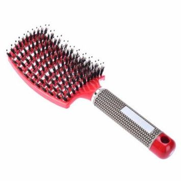 Pretty See Practical Boar Bristle Hair Brush Delicate Detangling Brush Durable Vented Hair Brush, Suitable for Wet and Dry Hair, Red