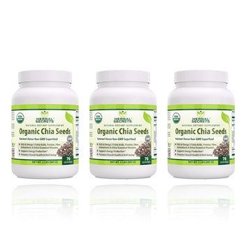 Herbal Secrets Organic Chia Seeds Nutrient - Dense Non-GMO Super food USDA Certified Organic 2 LB- (3 Pack)