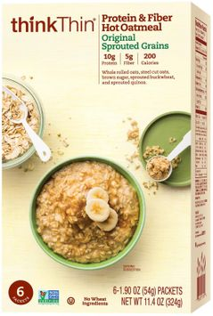 Think Products think Thin Protein & Fiber Hot Oatmeal Original Sprouted Grains 6 Packets