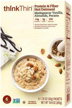 Think Products think Thin Protein & Fiber Hot Oatmeal Madagascar Vanilla Almonds & Pecans 6 Packets