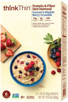 Think Products think Thin Protein & Fiber Hot Oatmeal Farmer's Market Berry Crumble 6 Packets