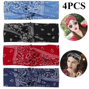 Kapmore - 4PCS Boho Headbands for Women,Kapmore Vintage Bandana Flower Printed Head Wrap Twisted Hair Accessories