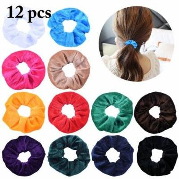 12PCS Hair Scrunchy for Women,Kapmore Elastic Assorted Color Hair Tie Ponytail Holder Hair Bands Hair Accessories
