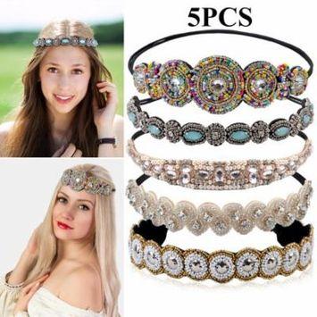 5PCS Boho Headbands for Women,Kapmore Rhinestone Beaded Elastic Headband Wedding Headband Headpiece Hair Accessories for Women Bride