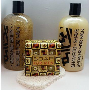 Greenwich Bay Super Dad! Soaps Tool Kit - Scrub, Shampoo Shower & Shave, Exfoliating Bar plus Bar Soap Saver