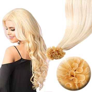 Pre Bonded Italian keratin Nail Tips 100 Strands 18 Inch U Tip Remy Human Hair Extension Superior Salon Quality—Bleach Blonde #613, 18''/50g