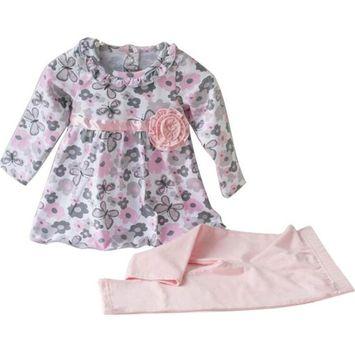 SMTSMT 2017 Baby Girls Flower Print T-shirt+Legging Pant 2Pcs Outfit