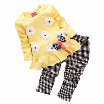 SMTSMT 2017 Girls Long Sleeve Flower Bow Shirt Plaid Pant Set (2-3Y, Yellow)