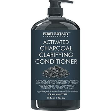 Activated Charcoal Professional Hair Conditioner for Men and Women 16 fl. oz - Sulfate Free - Volumizing & Moisturizing, Gentle on Curly & Color Treated Hair. Infused with Keratin.