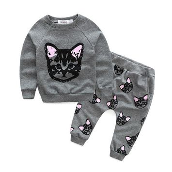 SMTSMT 2017 Baby Girl Cats Print Tracksuit +Pants Outfits
