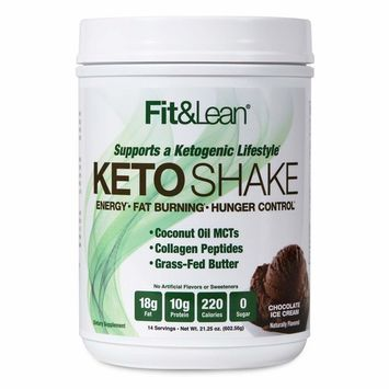 Fit & Lean Keto Shake Ketogenic Meal Replacement Powder, Chocolate [Chocolate]