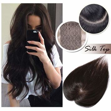 Human Hair Crown Topper Top Hairpieces for Women Clip in Toupee with Thinning Hair Middle Part Hand-made Silk Base at Middle&PU Around Wiglet(10