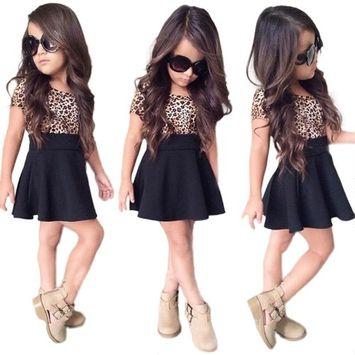 SMTSMT 2017 Baby Girls Leopard Printing Short Sleeveless Dress