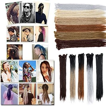 "Gradient Colors Dreadlocks Hair Extensions for Men Women Reggae Braids Dreads Faux Locs Crochet Hair 24"" Handmade Single Ended for Rock&Roll Hippie-15 strands, Black to Brown"