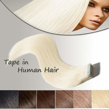 22 inch Tape In Hair Extensions Human Hair Platinum Blonde 20pcs 50g Long Straight Remy Hair Double Sided Tape on(22'' #60)+10pcs Free Tapes