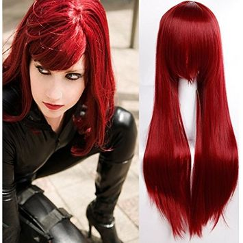 Long Synthetic Wig for Anime Cosplay Costume Party Crossdresser 32'' Straight Thick Full Wig with Bangs Japanese Kanekalon Heat Resistant Fiber (Wine Red)