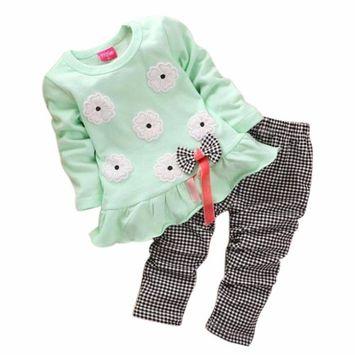 SMTSMT 2017 Girls Long Sleeve Flower Bow Shirt Plaid Pant Set (3-4Y, Green)