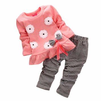 SMTSMT 2017 Girls Long Sleeve Flower Bow Shirt Plaid Pant Set