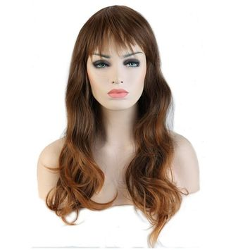 Multi-Color Long Wavy Halloween Cosplay Wig with Bangs for Women Halloween Costume Dress Synthetic Heat Resistant Fiber (19''/48cm Curly Brown to Coffee)